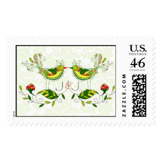 Colorful Retro Love Birds & Flowers Stamp