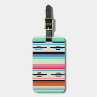 Colorful Retro Mexican Textile Pattern Luggage Tag