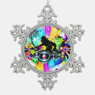 Colorful Retro Music DJ Design Snowflake Pewter Christmas Ornament