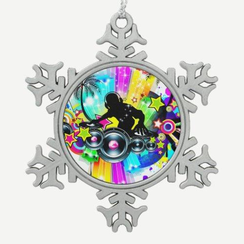 Colorful Retro Music DJ Design Snowflake Pewter Christmas Ornament