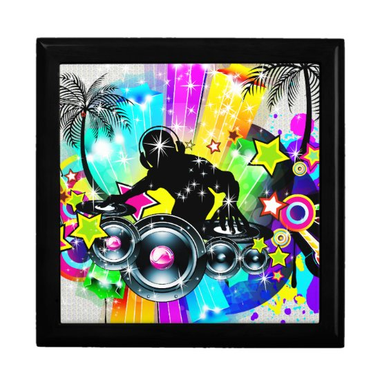 Colorful Retro Music Theme-DJ  Spinning Records Jewelry Box