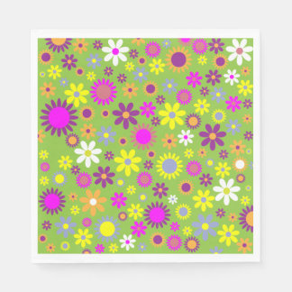 Colorful Retro or Modern Flower Print Pattern Napkin