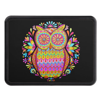 Colorful Retro Owl Hitch Cover - Groovy Owl Art!