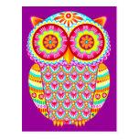 Colorful Retro Owl Postcard