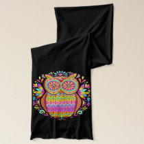 Colorful Retro Owl Scarf - Psychedelic Art!