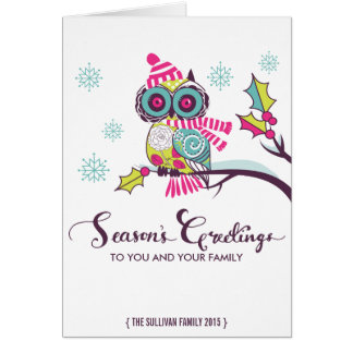Colorful Retro Owls and Snowflakes Holiday Card