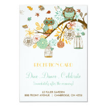 Colorful Retro Owls Fall Wedding Reception Card