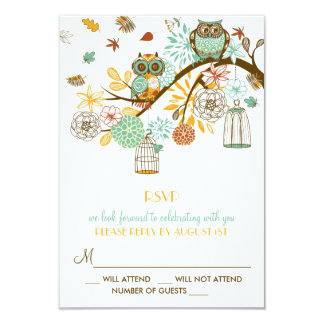 Colorful Retro Owls Fall Wedding RSVP Card