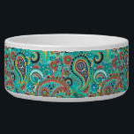 """Colorful Retro Paisley Bowl<br><div class=""""desc"""">Cool retro colorful paisley pattern. Blue-green with red and white accents.</div>"""