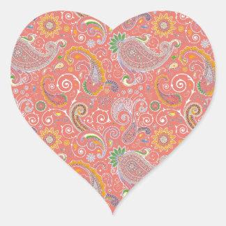 Colorful Retro Paisley Heart Sticker