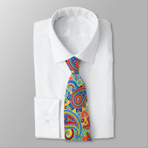 Colorful Retro Paisley Pattern Tie