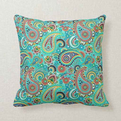 Retro Decorative Pillows : Colorful Retro Paisley Throw Pillow Zazzle