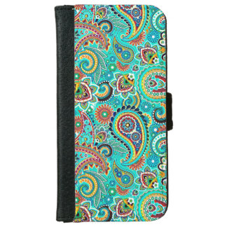 Colorful Retro Paisley Wallet Phone Case For iPhone 6/6s