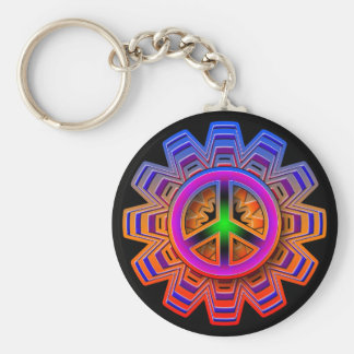 COLORFUL RETRO PEACE SIGN BASIC ROUND BUTTON KEYCHAIN