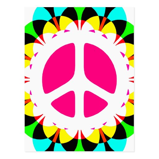 COLORFUL RETRO PEACE SIGN POST CARDS