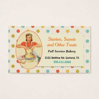 Colorful Retro Polka Dot Bakery Business Card
