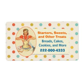 Colorful Retro Polka Dot Bakery Label