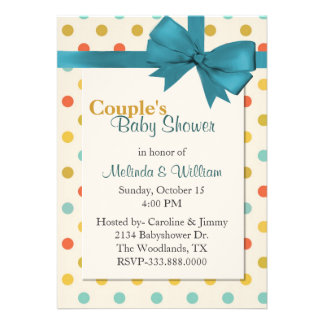 Colorful Retro Polka Dot Couple s Baby Shower Cards