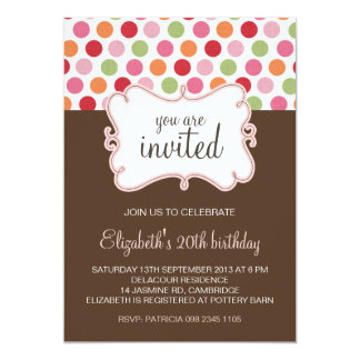 Colorful Retro Polka Dots Birthday Invitation