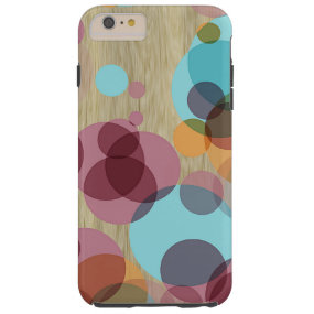 Colorful Retro Polka Dots Pattern Faux Wood Tough iPhone 6 Plus Case