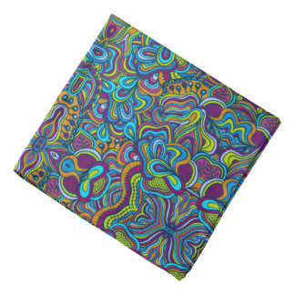 Colorful Retro Psychedelic Abstract Swirls Bandana