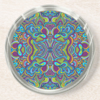 Colorful Retro Psychedelic Abstract Swirls Coaster