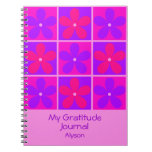 Colorful Retro Purple Flowers Gratitude Journal Notebook
