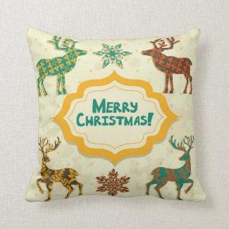 Colorful Retro Rain-Deer Merry Christmas Throw Pillow
