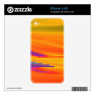 COLORFUL RETRO RAINBOW DOTS ART DECAL FOR THE iPhone 4