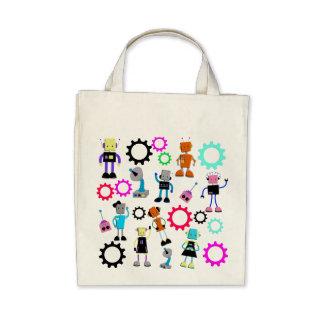 Colorful Retro Robots Bags