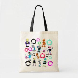 Colorful Retro Robots Tote Bag