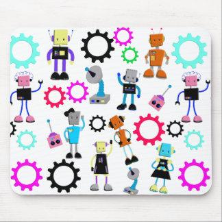 Colorful Retro Robots Mouse Pad