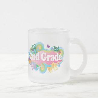 Colorful Retro Second Grade 10 Oz Frosted Glass Coffee Mug