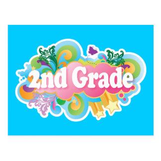 Colorful Retro Second Grade Postcard