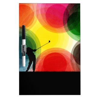 Colorful Retro Silhouette Golfer Dry-Erase Board