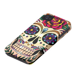 Colorful Retro Skull Flowers & Roses iPhone 4 Covers