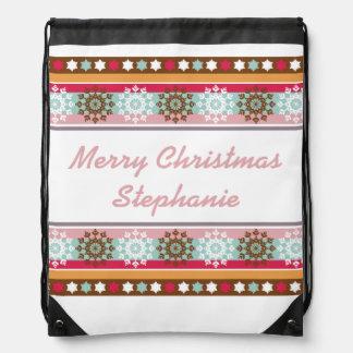 Colorful Retro Snowflakes Personalized Drawstring Bag