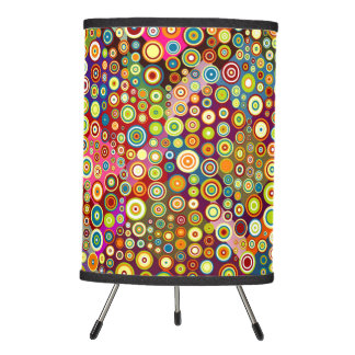Colorful retro spots pattern I + your ideas Tripod Lamp