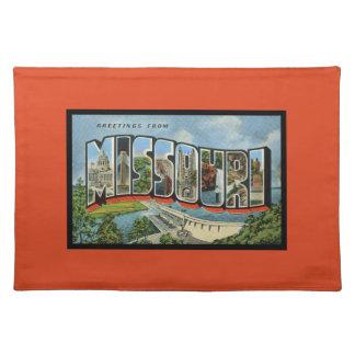 Colorful Retro State of Missouri Font Orange Cloth Placemat