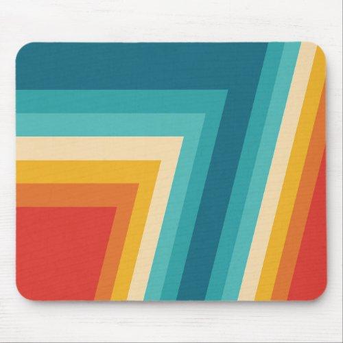 Colorful Retro Stripe _  70s 80s Design Mouse Pad