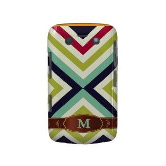 Colorful Retro Stripe Monogram Pattern Blackberry Blackberry Bold Covers