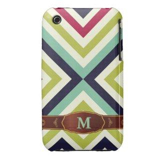 Colorful Retro Stripe Monogram Pattern iPhone 3 iPhone 3 Cases
