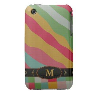Colorful Retro Stripe Monogram Pattern iPhone 3 iPhone 3 Case