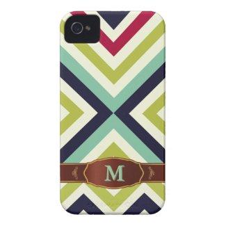 Colorful Retro Stripe Monogram Pattern iPhone 4 Case-Mate iPhone 4 Cases