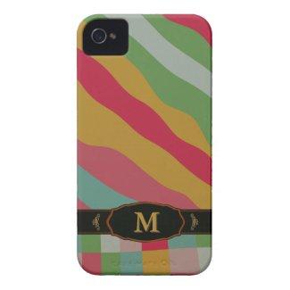 Colorful Retro Stripe Monogram Pattern iPhone 4 iPhone 4 Cover