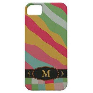 Colorful Retro Stripe Monogram Pattern iPhone 5 iPhone 5 Case