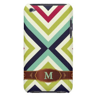 Colorful Retro Stripe Monogram Pattern iPod Touch iPod Touch Covers