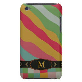 Colorful Retro Stripe Monogram Pattern iPod Touch Barely There iPod Case