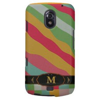 Colorful Retro Stripe Monogram Pattern Samsung Galaxy Nexus Covers
