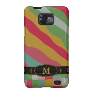Colorful Retro Stripe Monogram Pattern Samsung S2 Galaxy SII Covers